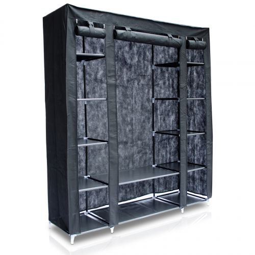 venkon xxl kleiderschrank stecksystem faltschrank textilgarderobe schrank ebay. Black Bedroom Furniture Sets. Home Design Ideas