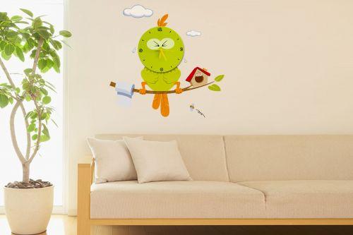 kinder wanduhr vogel wandtattoo wand uhr tattoo dekor kinderzimmer aufkleber ebay. Black Bedroom Furniture Sets. Home Design Ideas