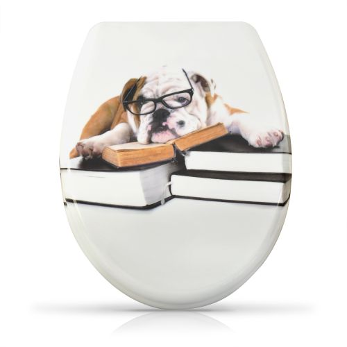 wc sitz toilettendeckel mit absenkautomatik klobrille hund bulldogge buch bully ebay. Black Bedroom Furniture Sets. Home Design Ideas