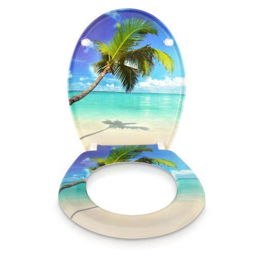 wc sitz toilettendeckel mit absenkautomatik klobrille karibik palme meer urlaub ebay. Black Bedroom Furniture Sets. Home Design Ideas