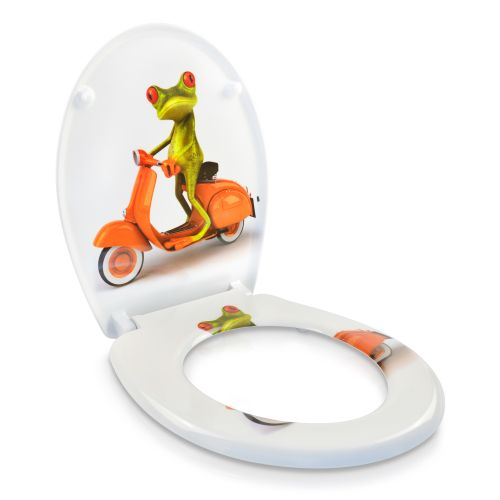 wc sitz toilettendeckel absenkautomatik klobrille biker frog frosch mofa crazy ebay. Black Bedroom Furniture Sets. Home Design Ideas