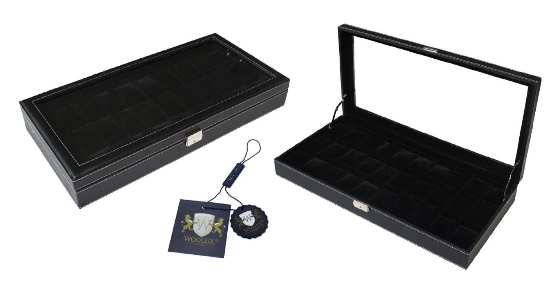 leder uhrenbox 30 uhren mit echtglas uhrenvitrine uhrenschatulle ebay. Black Bedroom Furniture Sets. Home Design Ideas
