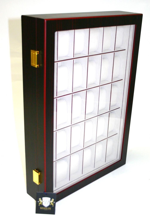 holz uhrenvitrine uhrenbox f r 30 uhren holzuhrenschatulle f r die wand ebay. Black Bedroom Furniture Sets. Home Design Ideas