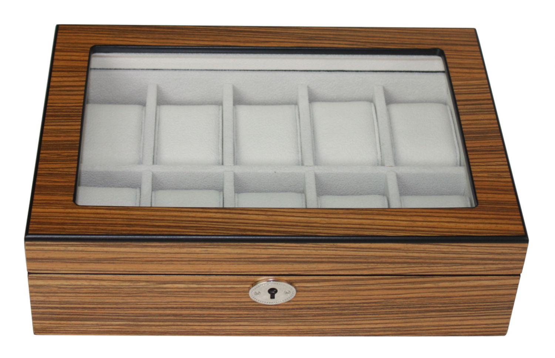 moderne uhrenbox aus holz f r 10 uhren mit sichtfenster. Black Bedroom Furniture Sets. Home Design Ideas