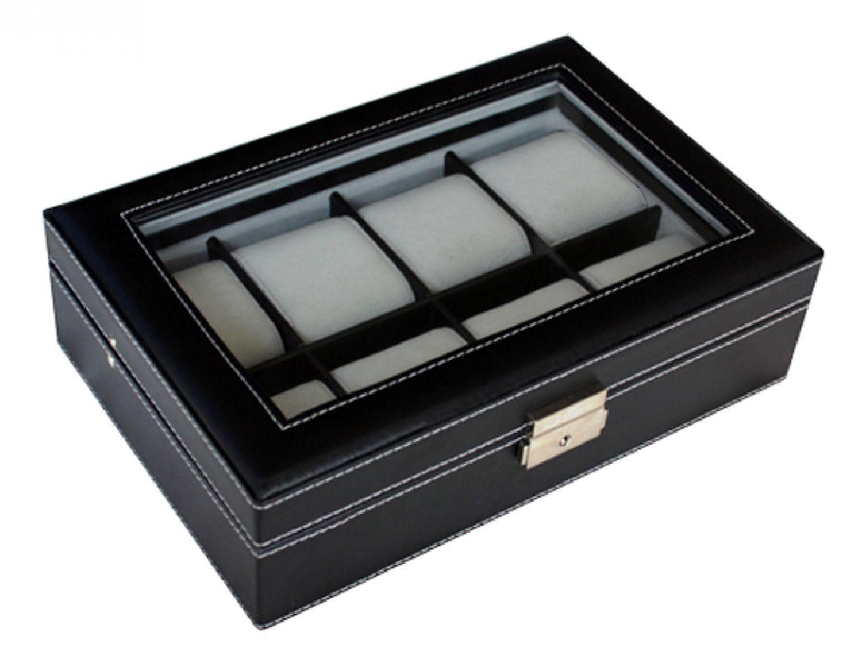 hochwertige uhrenbox woolux f r 8 uhren leder schwarz extra breite f cher ebay. Black Bedroom Furniture Sets. Home Design Ideas