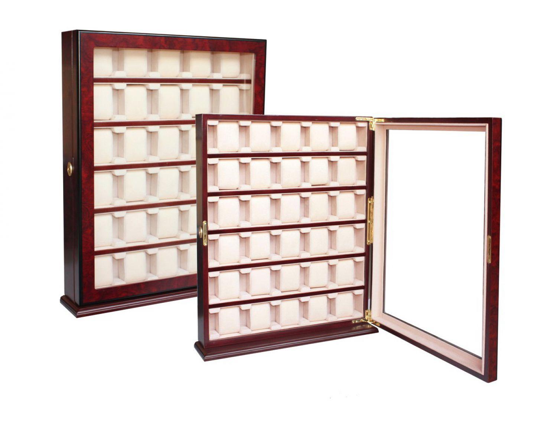 2 wahl holz uhrenbox in kirsche f r 30 gro e uhren wand uhrenvitriene ebay. Black Bedroom Furniture Sets. Home Design Ideas