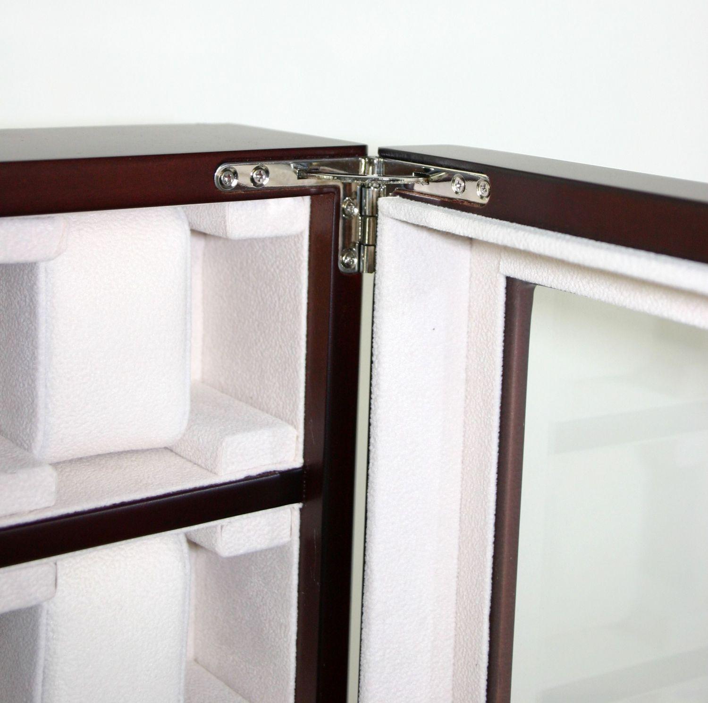 2 wahl holz uhrenbox kirsche f r 30 uhren wand uhrenvitriene. Black Bedroom Furniture Sets. Home Design Ideas