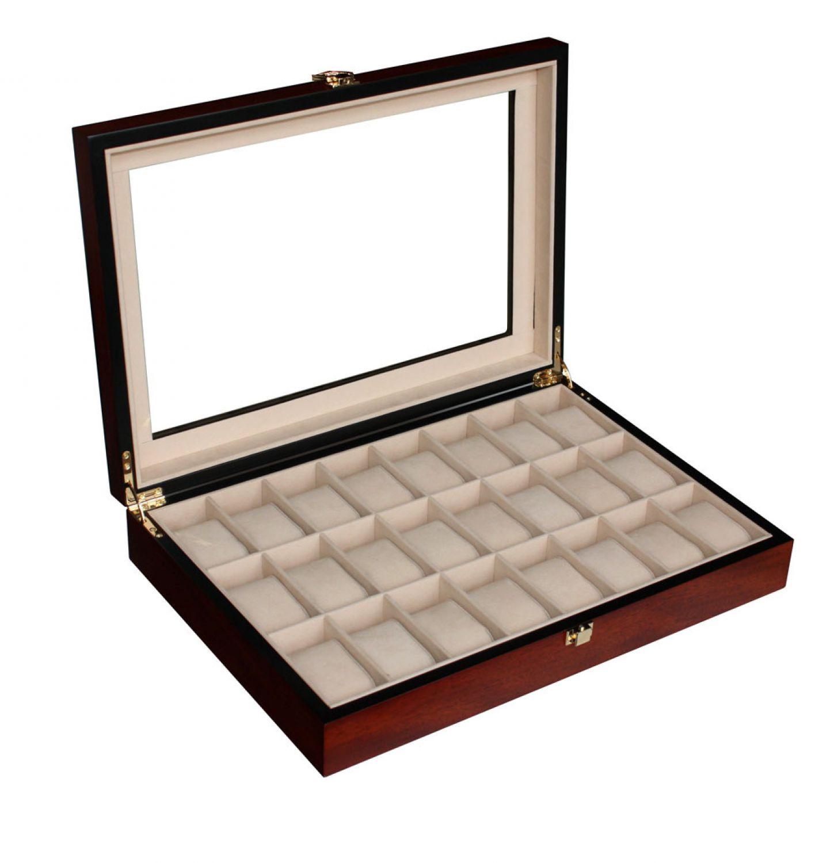 woolux uhrenbox aus holz f r 24 uhren farbe kirsche matt sch ne vitrine ebay. Black Bedroom Furniture Sets. Home Design Ideas