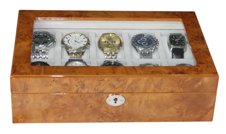 elegante uhrenbox aus holz f r 10 uhren mit sichtfenster. Black Bedroom Furniture Sets. Home Design Ideas