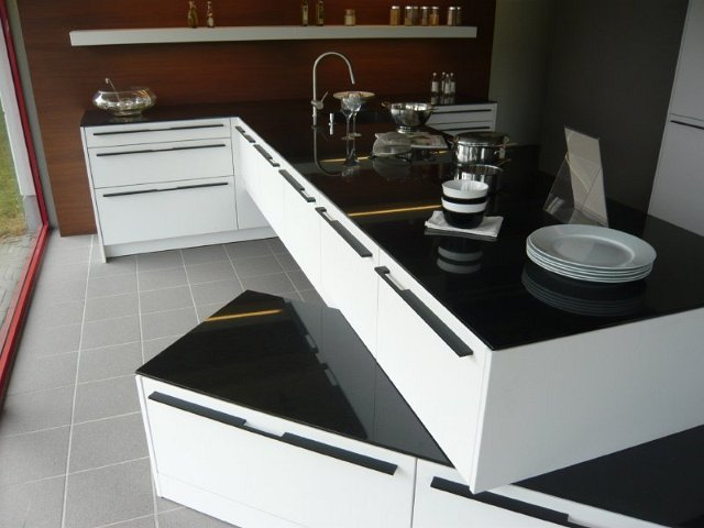 k che siematic hochschrankzeile granit miele ger te lotus weiss musterk che ebay. Black Bedroom Furniture Sets. Home Design Ideas