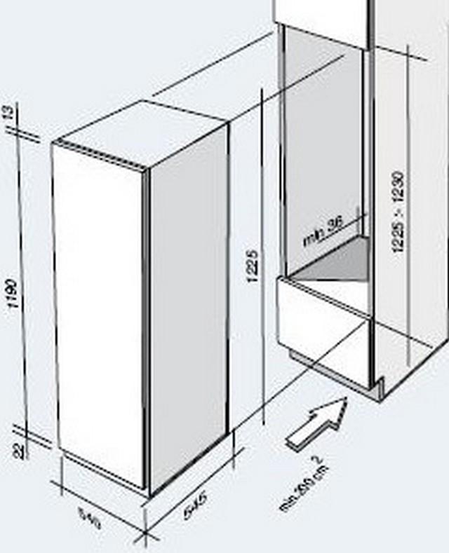 122 cm einbauk hlschrank schleppt rtechnik 122cm nische. Black Bedroom Furniture Sets. Home Design Ideas