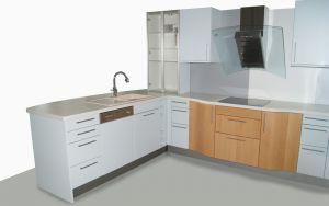 U Küche Eisblau und Buche TOP Wohnküche Einbauküche