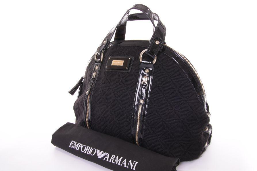 emporio armani shopper tasche bag schwarz strick lack ebay. Black Bedroom Furniture Sets. Home Design Ideas