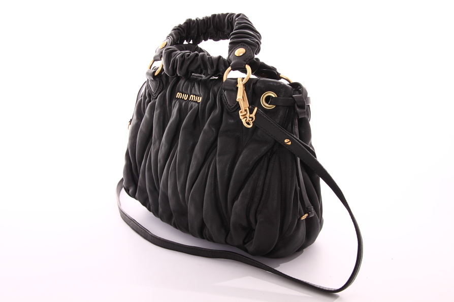 miu miu by prada handtasche tasche bag schwarz leder. Black Bedroom Furniture Sets. Home Design Ideas