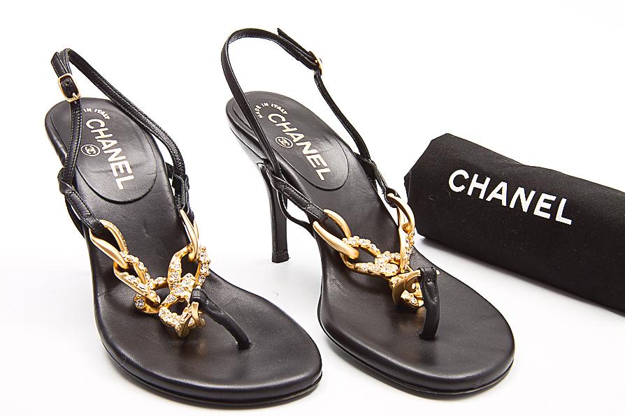 chanel schuhe sandaletten schwarz leder ebay. Black Bedroom Furniture Sets. Home Design Ideas