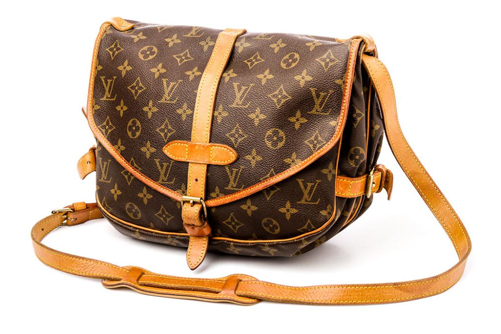 louis vuitton handtasche braun saumur in monogram canvas ebay. Black Bedroom Furniture Sets. Home Design Ideas