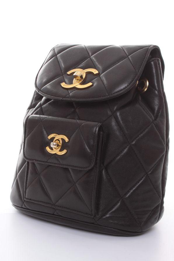 chanel rucksack tasche bag schwarz 100 leder ebay. Black Bedroom Furniture Sets. Home Design Ideas