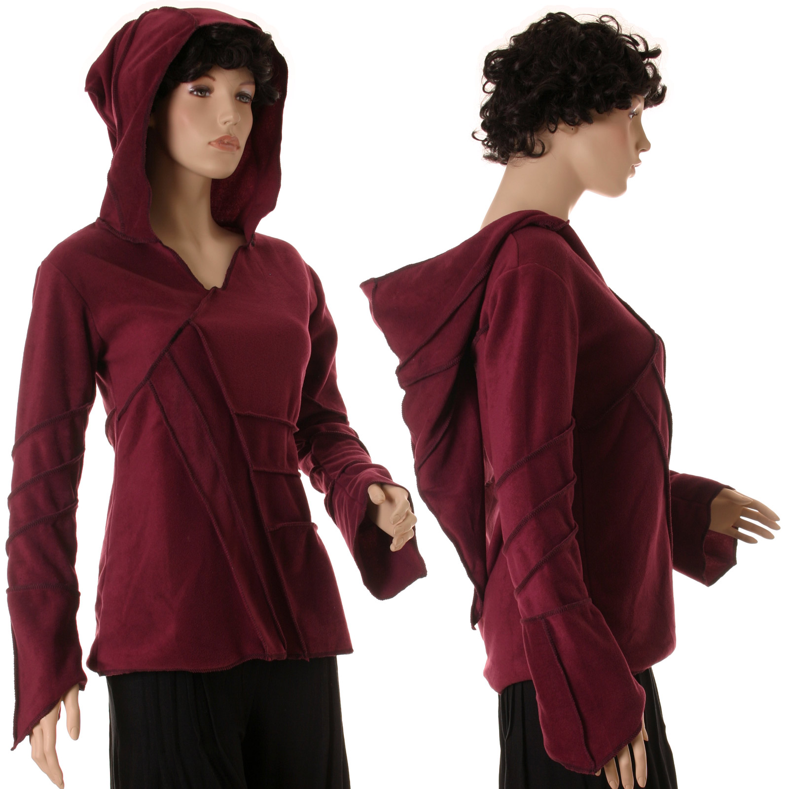 Goa-Damen-Fleece-Pullover-warm-Zipfelkapuze-Nepal-Larp-Elfen-Pullover-36-40-42