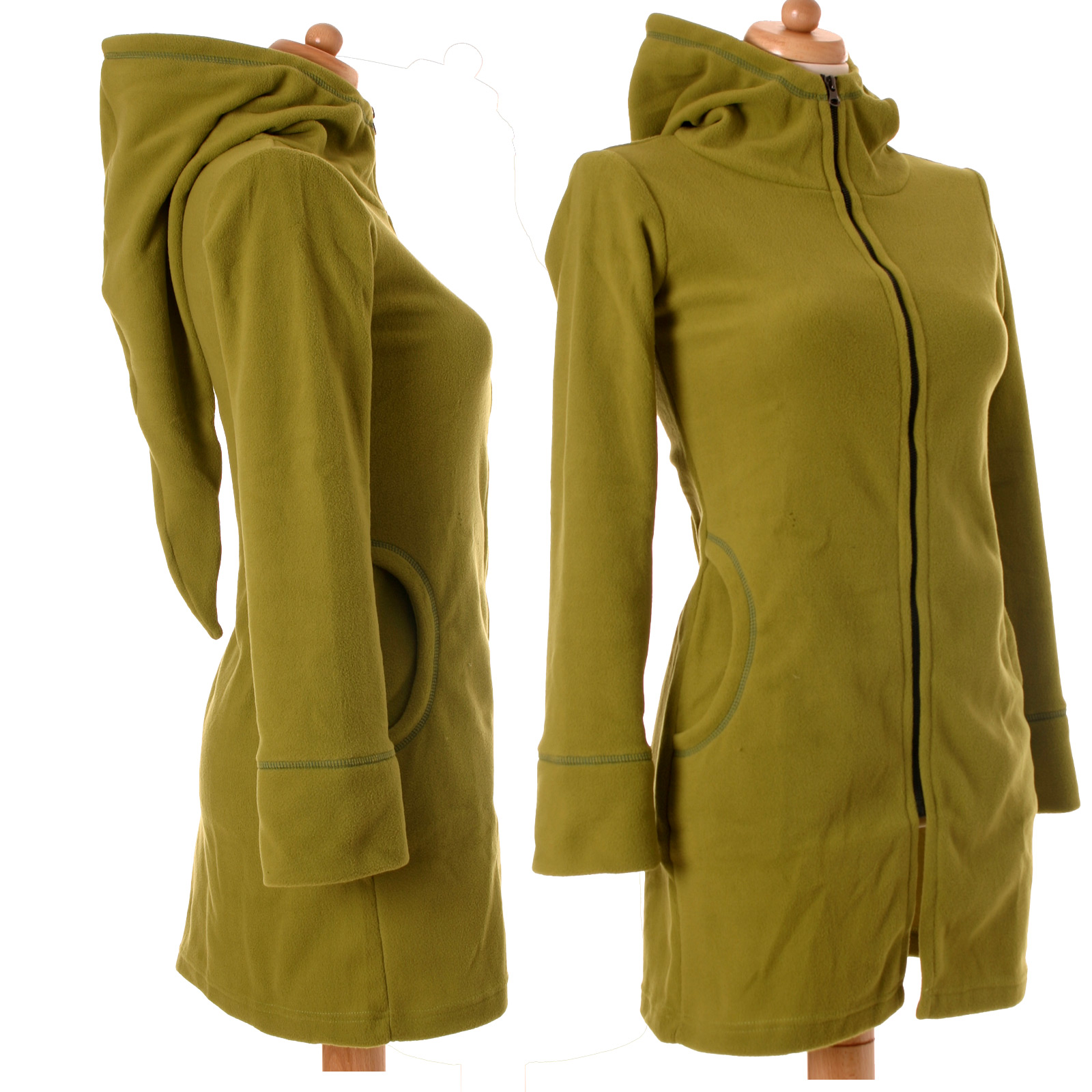 damen fleece mantel jacke warm zipfelkapuze goa nepal larp. Black Bedroom Furniture Sets. Home Design Ideas