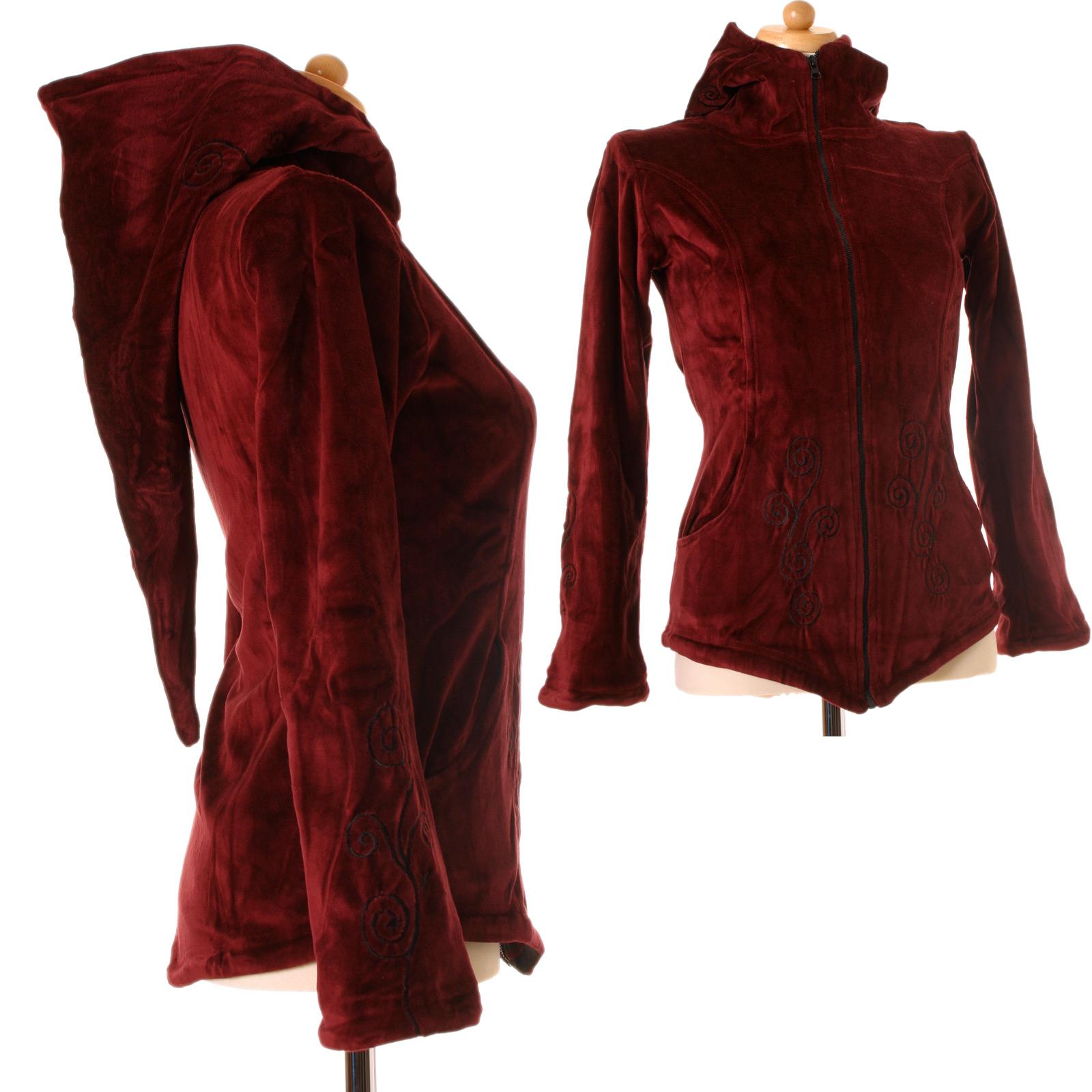 damenjacke samt jacke boho zipfelkapuze fleece nepal jacke hoodie stehkragen ebay. Black Bedroom Furniture Sets. Home Design Ideas