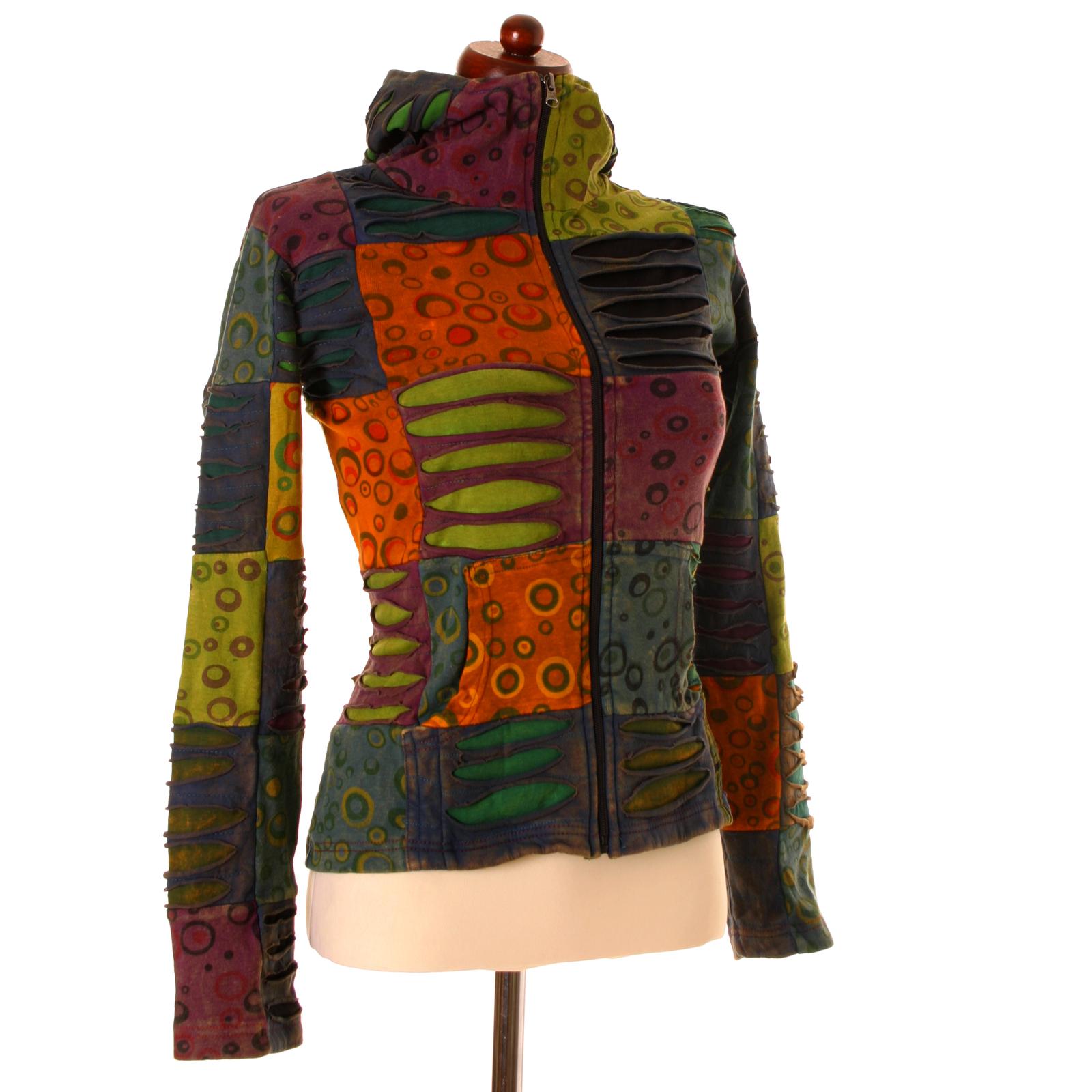 vishes goa patchwork jacke bunte elfenjacke hoodie hoody. Black Bedroom Furniture Sets. Home Design Ideas