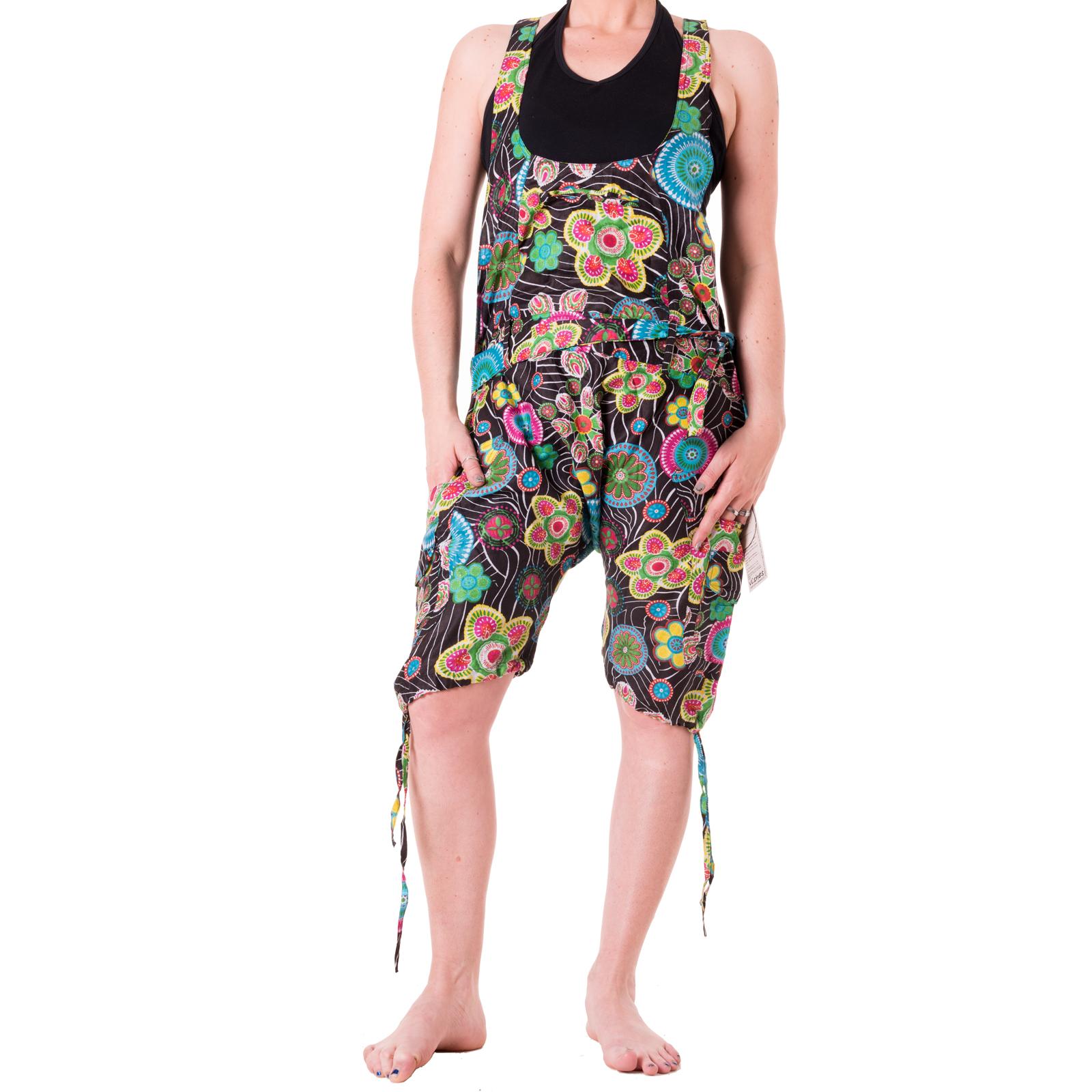 vishes bunte kurze latzhose hippie ethno flower power goa hose sommerhose blumen ebay. Black Bedroom Furniture Sets. Home Design Ideas