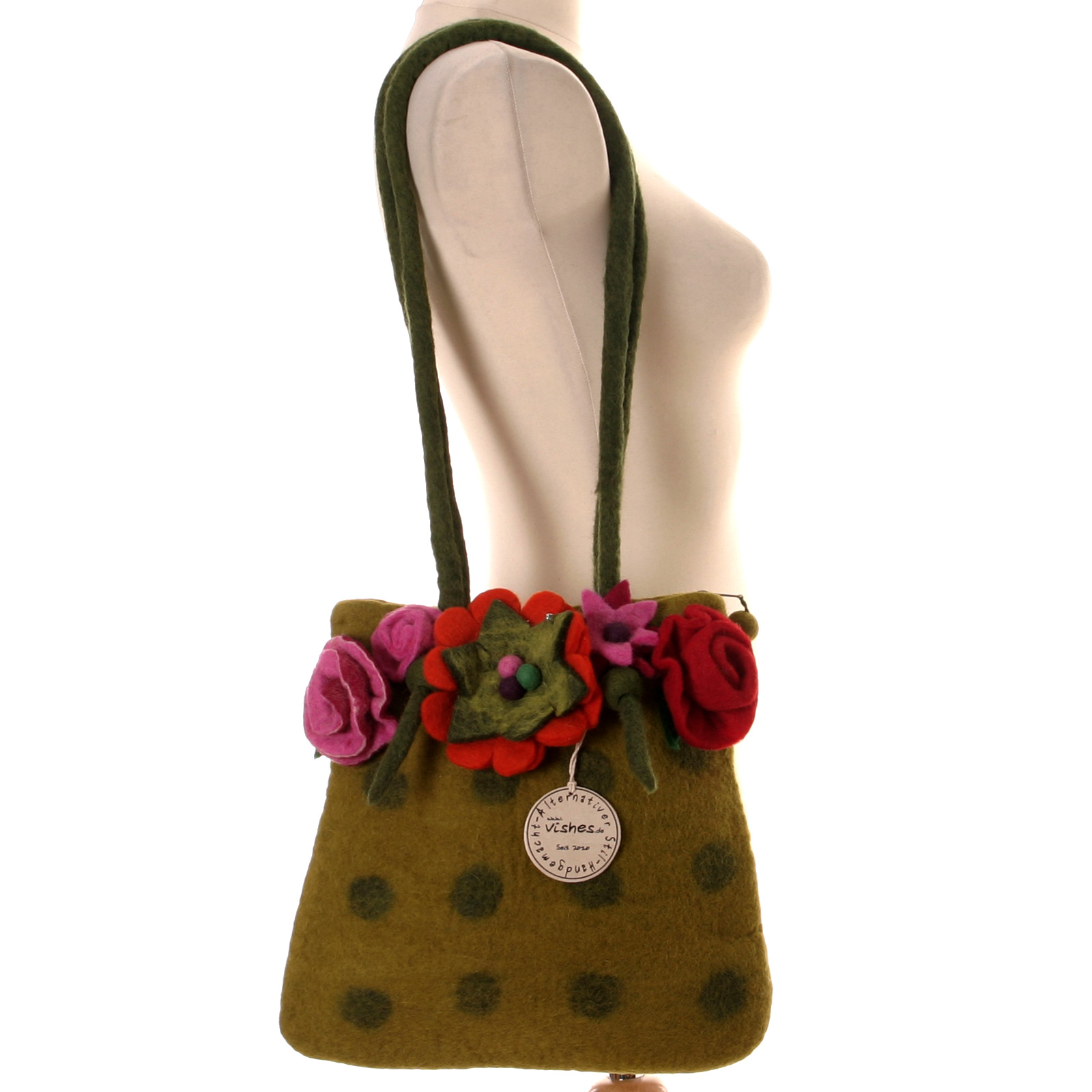 filz tasche hippie damen handtasche blume floral felt bag boho shopper filzen ebay. Black Bedroom Furniture Sets. Home Design Ideas