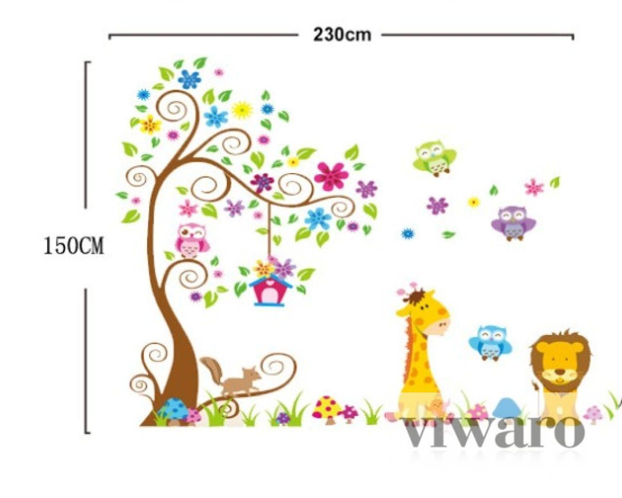 w026 kinderzimmer wandtattoo xxl baum tiere l we eule giraffe dschungel zoo top ebay. Black Bedroom Furniture Sets. Home Design Ideas