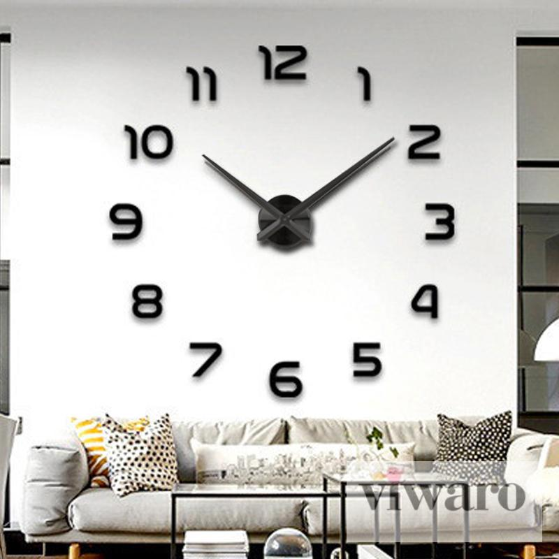 wanduhr deko 3d design spiegel edelstahl uhr wandtattoo. Black Bedroom Furniture Sets. Home Design Ideas