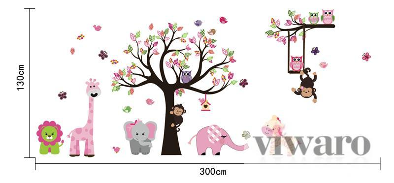 w180 wandtattoo kinderzimmer baum eule tiere wald xxxl 300cm x 130cm m dchen ebay. Black Bedroom Furniture Sets. Home Design Ideas
