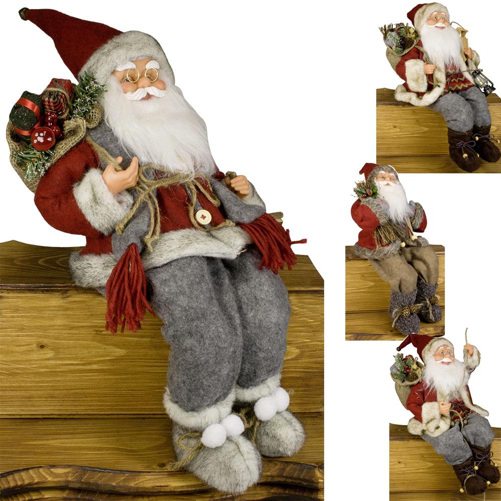 weihnachtsmann sitzend deko nikolaus kantenhocker figur gro weihnachts deko ebay. Black Bedroom Furniture Sets. Home Design Ideas