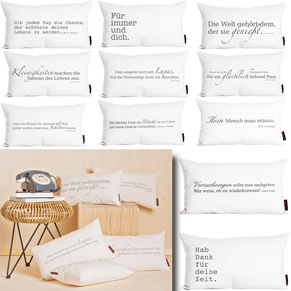 kissen gef llt zitate 30 x 50 spr che sofakissen deko zier. Black Bedroom Furniture Sets. Home Design Ideas
