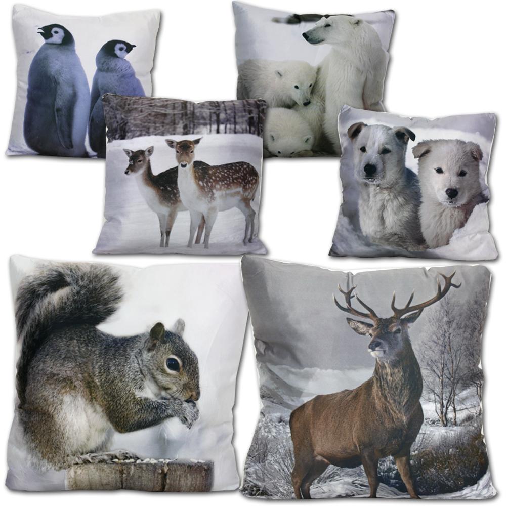 kissen 43 x 43 wintertiere zierkissen dekokissen sofa sofakissen deko tiere ebay. Black Bedroom Furniture Sets. Home Design Ideas