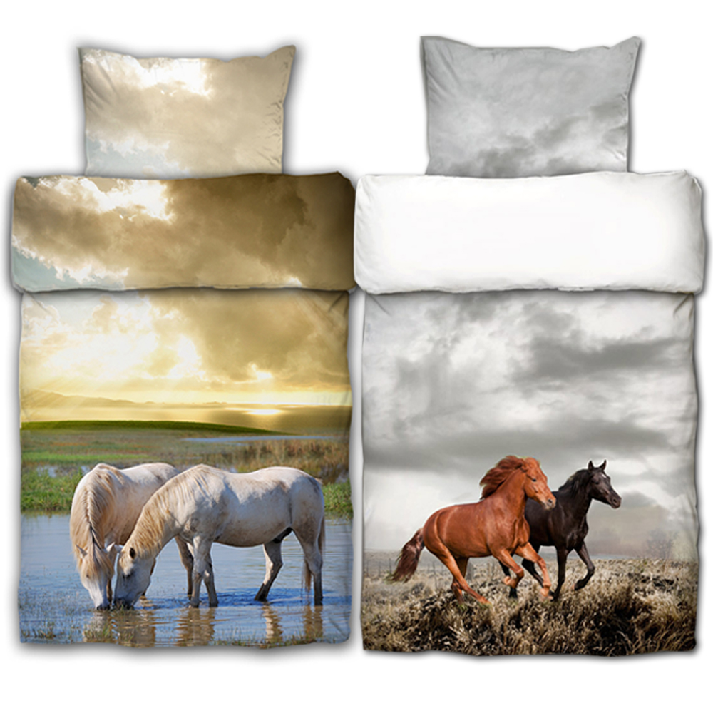 bettw sche 2tlg pferde 100 baumwolle pferd garnitur bett w sche bettdecke ebay. Black Bedroom Furniture Sets. Home Design Ideas