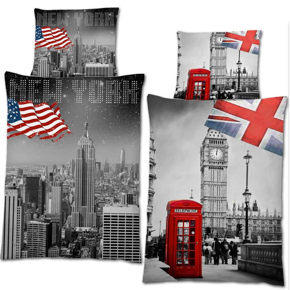 bettw sche 2 teilg 135 x 200 bett garnitur set bettdecke kopfkissen usa england ebay. Black Bedroom Furniture Sets. Home Design Ideas