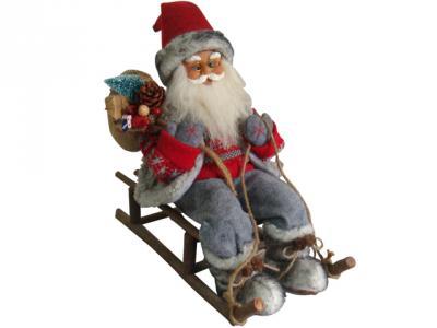 weihnachtsmann mit schlitten 46cm gro deko nikolaus figur holz weihnachts. Black Bedroom Furniture Sets. Home Design Ideas