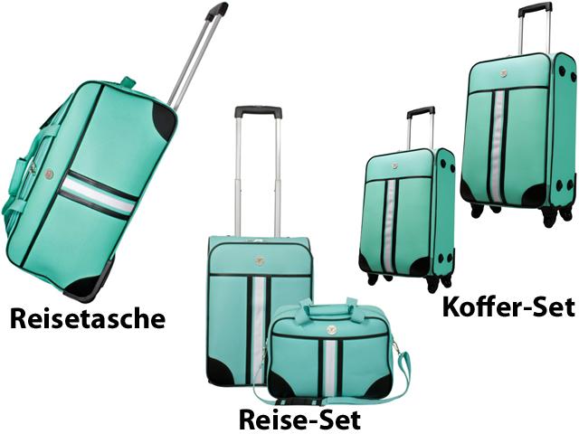 reise koffer set reisetasche reisekoffer trolley rollen retro design tasche 2tlg. Black Bedroom Furniture Sets. Home Design Ideas