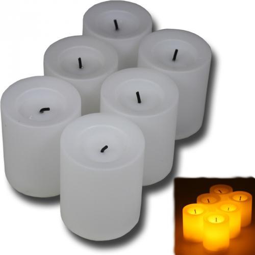 6-Stueck-LED-Kerzen-Flammenlose-Kerze-Teelicht-Set-Teelichter-Flackernd-Flamme