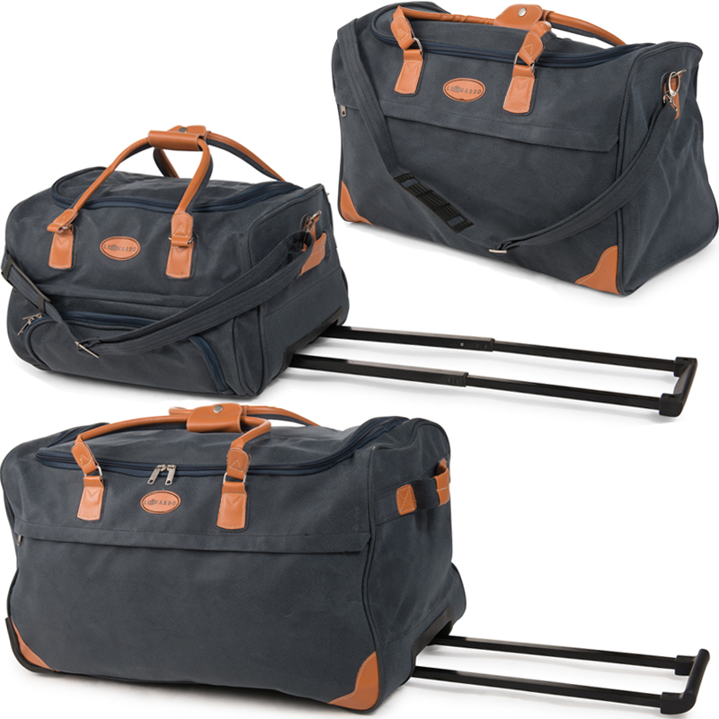 xxl reisetasche mit 2 rollen leder look trolley sporttasche trolly tasche xl bag ebay. Black Bedroom Furniture Sets. Home Design Ideas