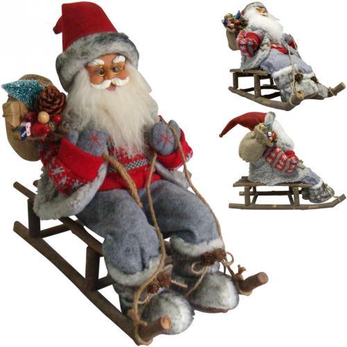 weihnachtsmann mit schlitten 46cm gro deko nikolaus figur holz weihnachts ebay. Black Bedroom Furniture Sets. Home Design Ideas