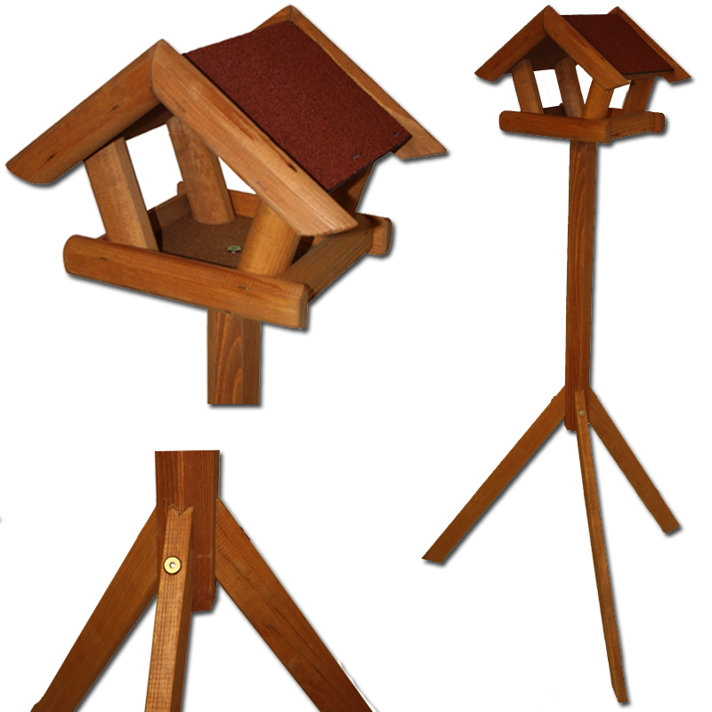 vogelhaus mit st nder vogelfutterhaus futterhaus holz vogel haus mit fu stand ebay. Black Bedroom Furniture Sets. Home Design Ideas