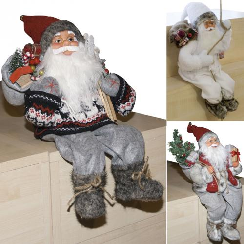weihnachtsmann sitzend deko nikolaus santa clause figur gro weihnachts deko ebay. Black Bedroom Furniture Sets. Home Design Ideas