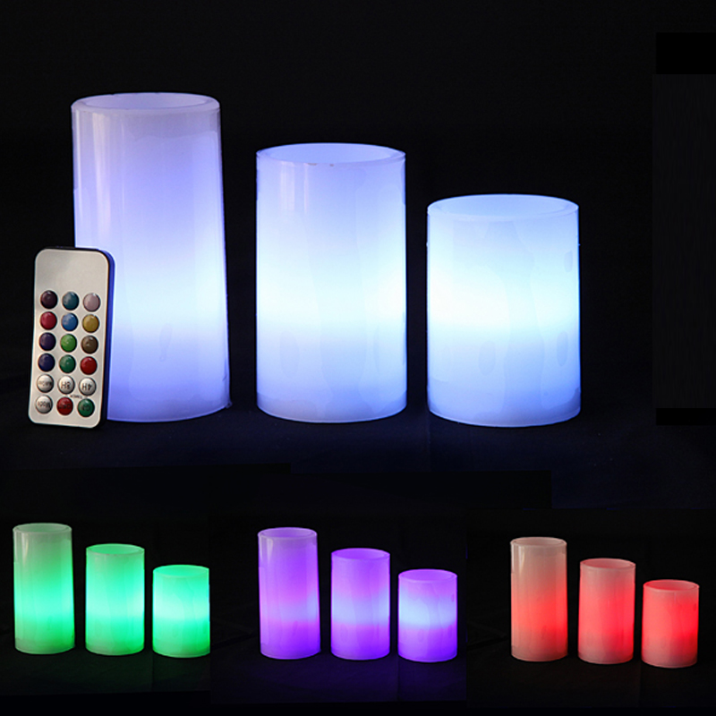 led echtwachs kerzen set colour 4tlg farbwechsel funktion fernbedienung timer ebay. Black Bedroom Furniture Sets. Home Design Ideas