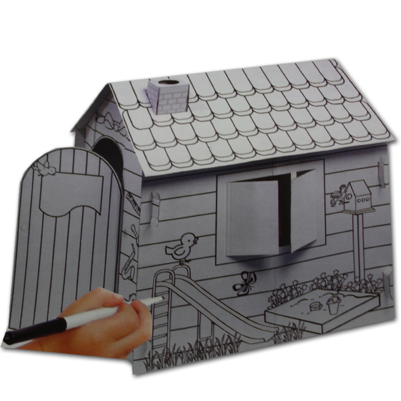 kinder karton papphaus spielhaus bastelhaus haus kinderhaus kartonhaus bastel ebay. Black Bedroom Furniture Sets. Home Design Ideas