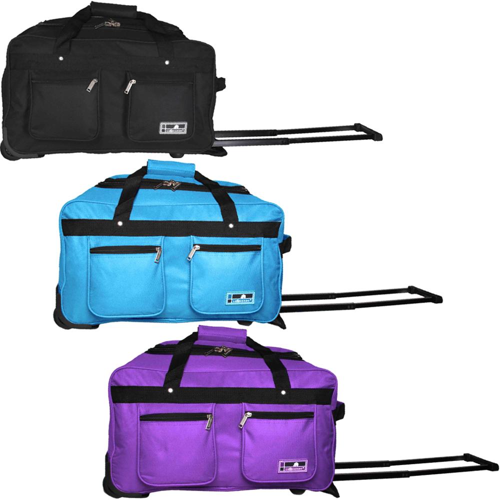 reisetasche mit 2 rollen 45l handgep ck sporttasche trolley tasche koffer ebay. Black Bedroom Furniture Sets. Home Design Ideas