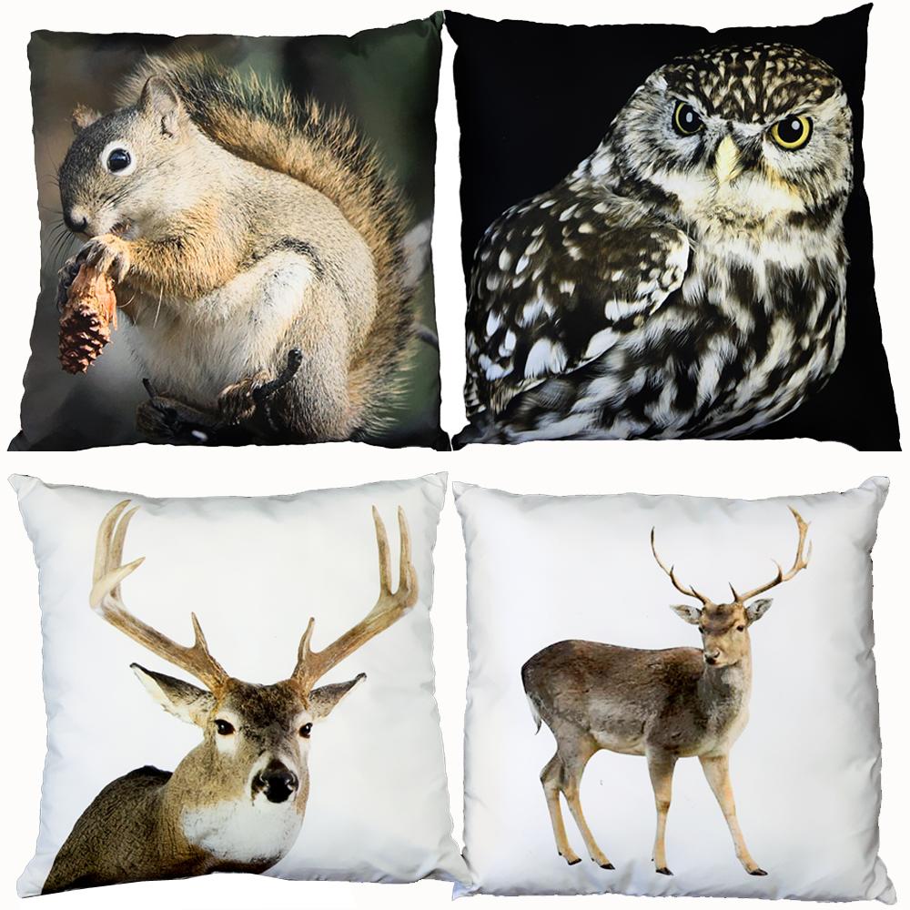 kissen waldtiere 40cm x 40cm zierkissen dekokissen tiere sofakissen sofa deko ebay. Black Bedroom Furniture Sets. Home Design Ideas