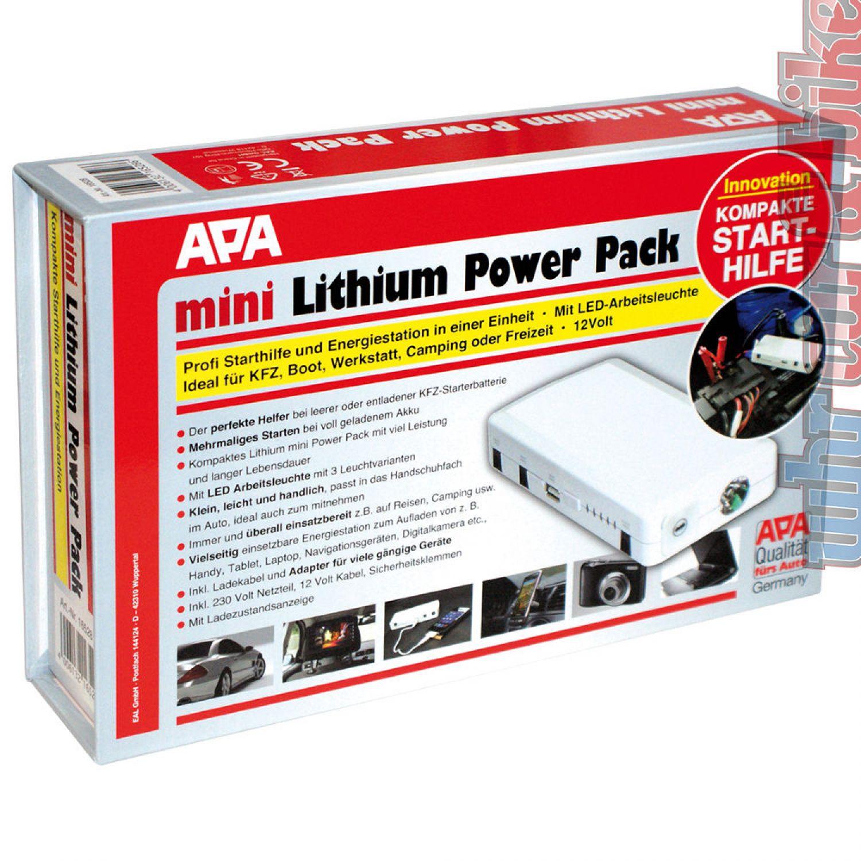 apa 12v 19v usb mini lithium power pack 200a 400a mobile. Black Bedroom Furniture Sets. Home Design Ideas