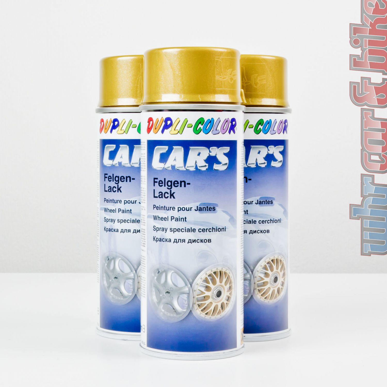 3 dosen dupli-color rallye felgen-lack 400ml gold felgengold spray