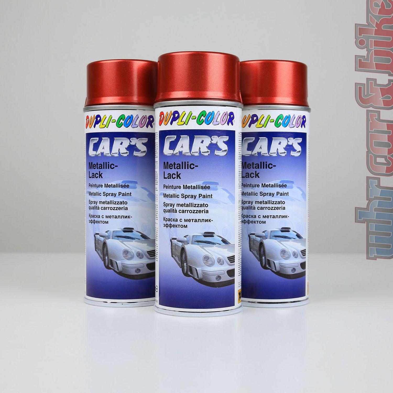 3x 400ml dupli-color car's metallic-lack rot spraydose lackspray