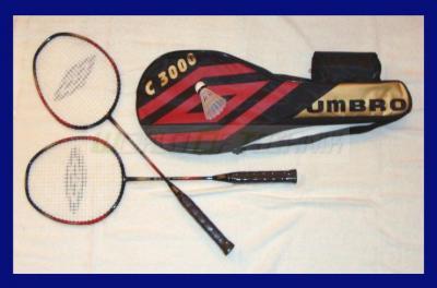 PROFI-UMBRO-Badminton-Set-C3000-Tasche-2-leichte-Schlaeger-inkl-Federball-SET
